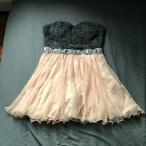 Grey & Pink Strapless Short Homecoming/ Prom Dress